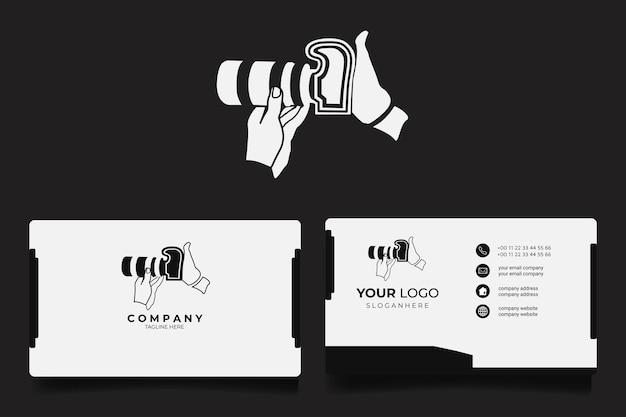Illustrazione del logo di fotografia dell'obiettivo della fotocamera con biglietto da visita