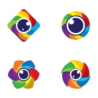 Disegno dell'illustrazione delle immagini del logo della fotocamera