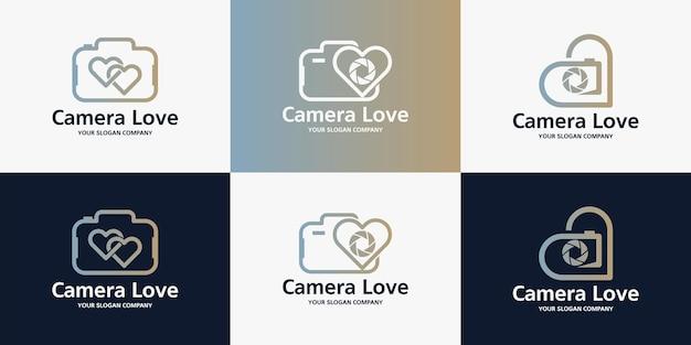 Design del logo per l'amore della fotocamera, design di ispirazione per fotografo, servizi di bellezza e matrimoni