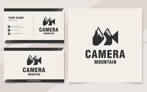 Modello di logo della montagna della macchina fotografica sullo stile del monogramma