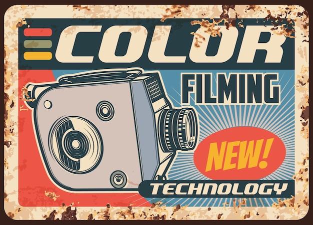 Film con fotocamera, film retrò video, poster arrugginito o vintage di piastra metallica.
