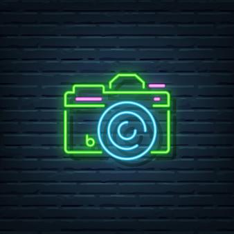 Elementi del segno al neon della fotocamera