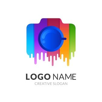Logo della vernice della fotocamera, fotocamera e vernice, logo combinato con stile colorato 3d
