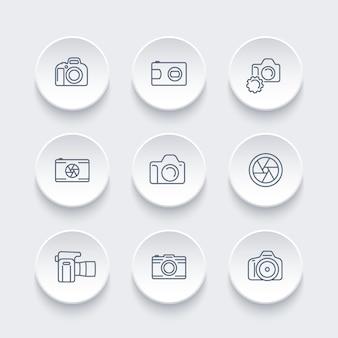 Fotocamera, set di icone della linea fotografica, reflex digitale, apertura, fotocamera reflex, vista frontale e laterale, illustrazione vettoriale
