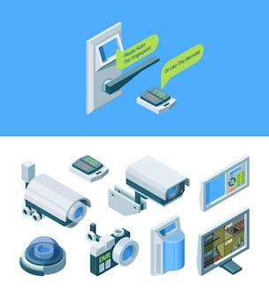 Illustrazione isometrica intelligente di sicurezza della fotocamera
