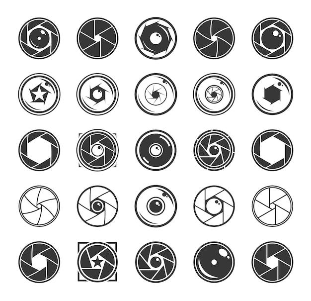 Set di icone dell'otturatore e degli obiettivi della fotocamera