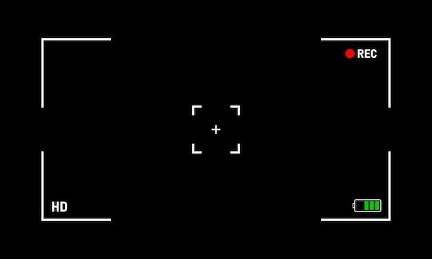 Cornice di registrazione video della fotocamera su sfondo nero. eps vettoriale 10
