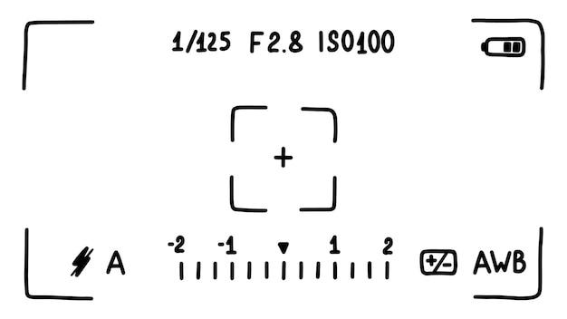 Interfaccia del mirino della fotocamera, schermo. modalità di scatto foto. schizzo in stile scarabocchio. illustrazione vettoriale.