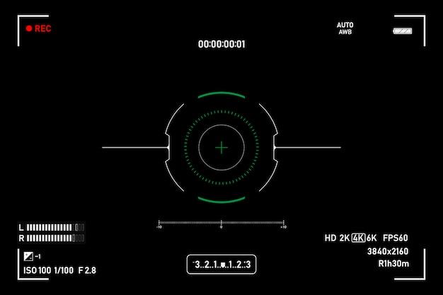 Mirino della fotocamera. registrazione della fotocamera nel mirino. schermo video su uno sfondo nero. Vettore Premium