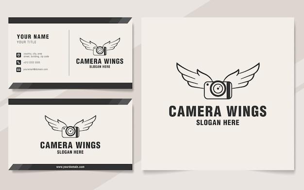 Modello di logo delle ali della fotocamera in stile monogramma