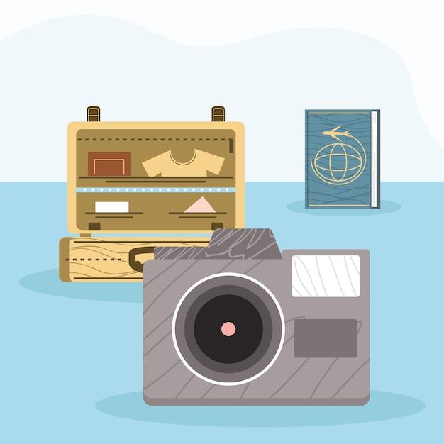 Fotocamera con icone di viaggio