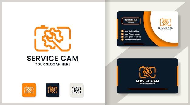 Design del logo della ruota dentata della chiave della fotocamera, design di ispirazione per la riparazione e l'assistenza della fotocamera