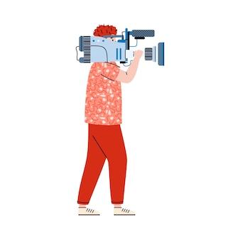 Cameraman o operatore con la macchina fotografica sull'illustrazione piana di vettore della spalla isolata