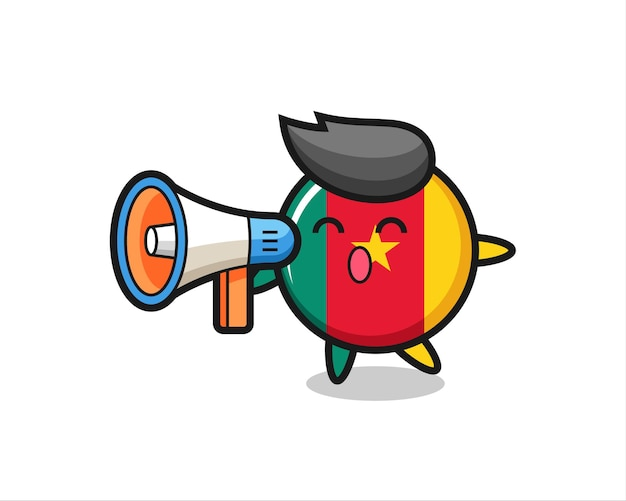 Illustrazione del carattere del distintivo della bandiera del camerun che tiene un megafono, design in stile carino per maglietta, adesivo, elemento logo