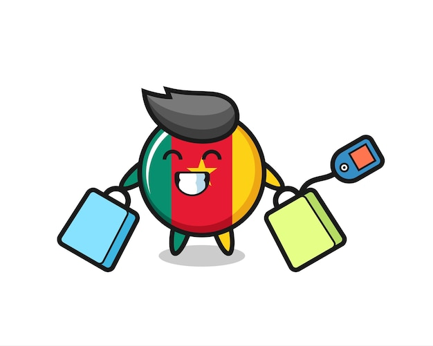 Fumetto della mascotte del distintivo della bandiera del camerun che tiene una borsa della spesa, design in stile carino per maglietta, adesivo, elemento logo