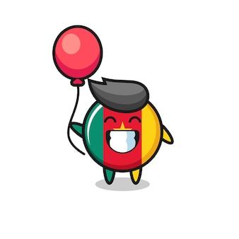 L'illustrazione della mascotte del distintivo della bandiera del camerun sta giocando a palloncino, design in stile carino per maglietta, adesivo, elemento logo