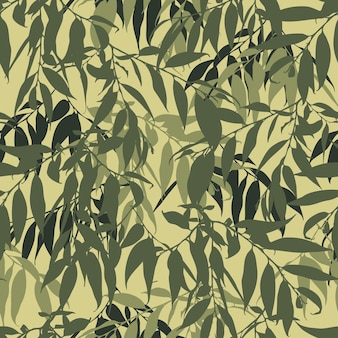 Modello senza cuciture mimetico con foglie. sfondo mimetico militare con ramoscelli. design per tessuto, tessile, sfondi e così via. illustrazione vettoriale.