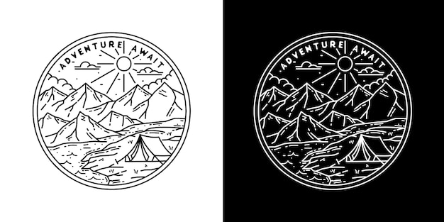 Camp adventure await monoline badge
