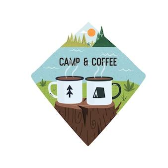 Disegno grafico vettoriale di campo e caffè