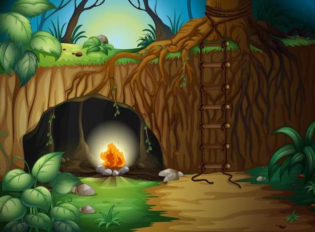 Un fuoco da campo in una grotta