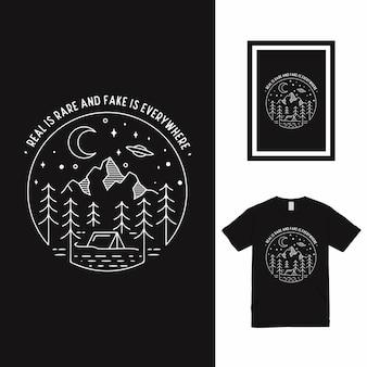 Design della maglietta camp ground line art