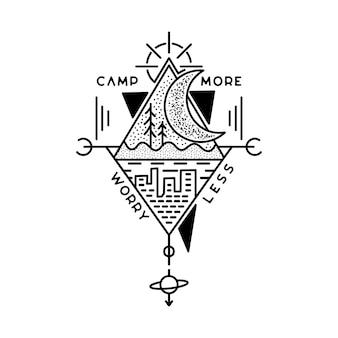 Camp, più preoccupazioni, meno design del badge. logo stemma avventura all'aperto con alberi e scena della città. etichetta di sagoma di viaggio isolata. geometria sacra. emblema di grafica tatuaggio stock.