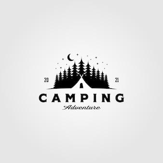 Logo di tenda da campeggio nel modello vintage di albero di pino