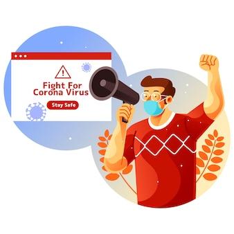 Illustrazione di una campagna per rimanere al sicuro dal coronavirus