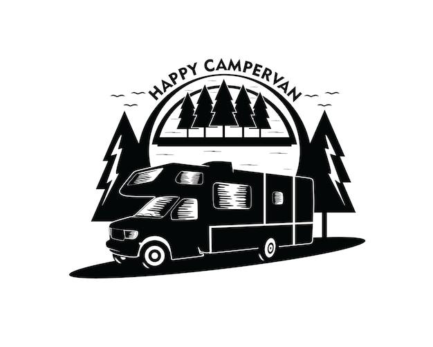 Illustrazione del logo di design silhouette auto camper