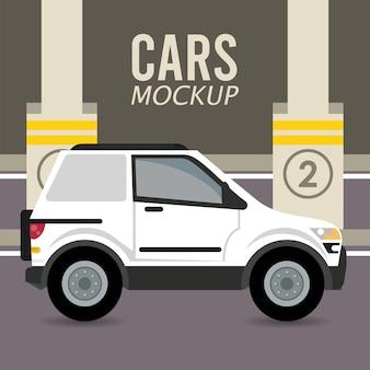 Camper mockup auto veicolo nella zona di parcheggio