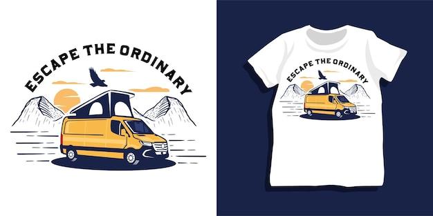 Design della maglietta di avventura di camper