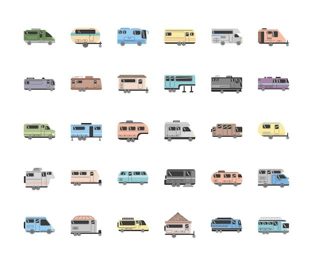 Set di auto e rimorchi per camper