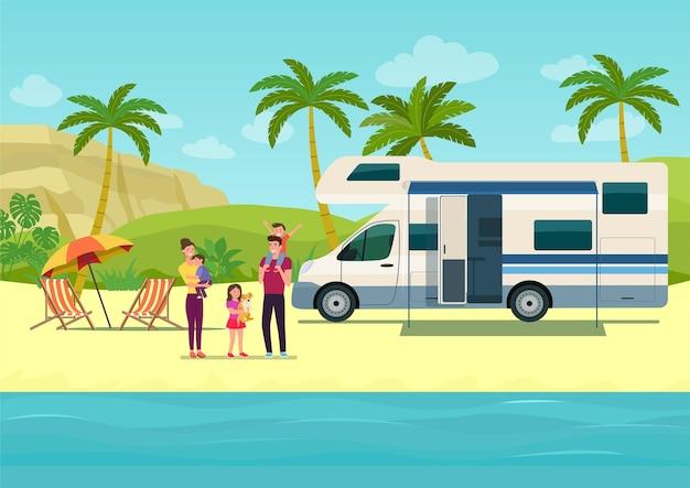 Casa mobile camper con porta aperta e tenda da sole insieme a una famiglia in vacanza. illustrazione di stile piatto.