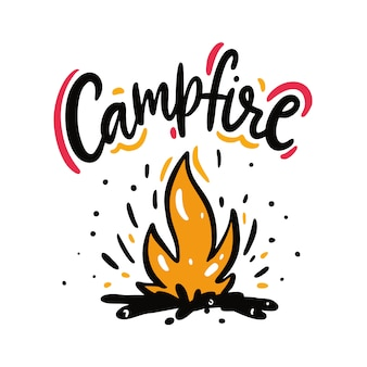 Illustrazione ed iscrizione disegnate a mano di vettore del fuoco di accampamento. isolato su bianco