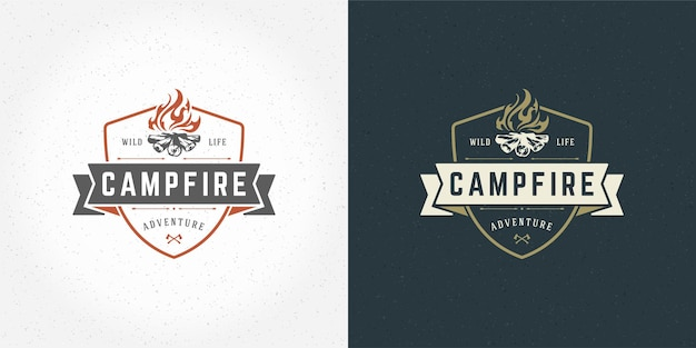 Campfire logo emblema illustrazione o