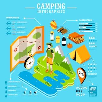 Campeggio 3d isometrico design piatto con attrezzature da campeggio