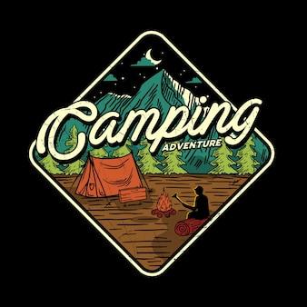 Illustrazione di avventura in campeggio