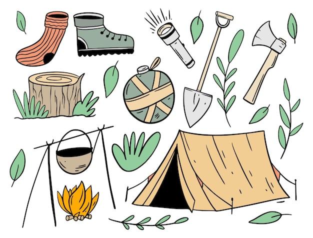Set di oggetti di avventura in campeggio. stile cartone animato piatto.