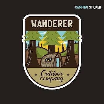 Design adesivo avventura in campeggio. illustrazione dell'etichetta del vagabondo