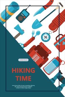 Insegna dell'illustrazione di vettore di tempo di avventura di campeggio con attrezzatura piana per l'escursionismo flayer del fumetto