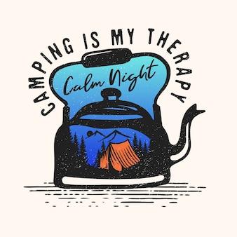 Logo di viaggio avventura in campeggio