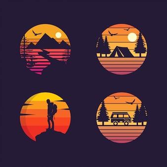 Campeggio, avventura, collezione di silhouette da viaggio