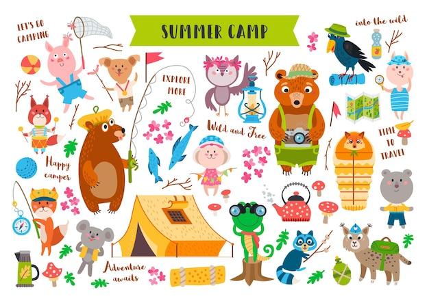 Animali da campeggio ambientati nella foresta. collezione avventura di attrezzatura da campo isolata