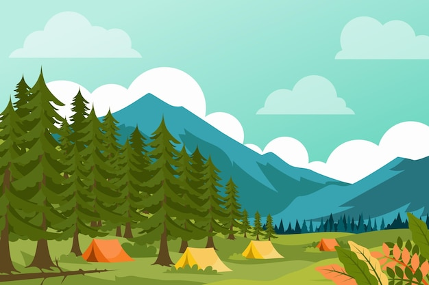 Illustrazione di paesaggio di area di campeggio con la foresta