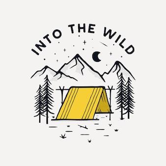 Disegno dell'illustrazione del distintivo di campeggio