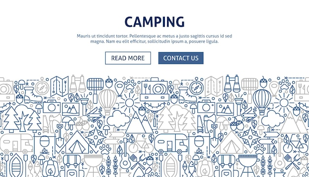 Progettazione di banner da campeggio. illustrazione vettoriale del concetto di linea web.