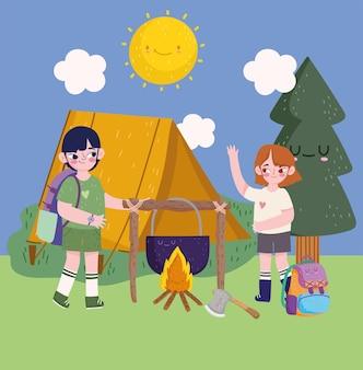 Campeggio, tenda da campeggio ragazzo e ragazza e pentola in stile cartone animato falò