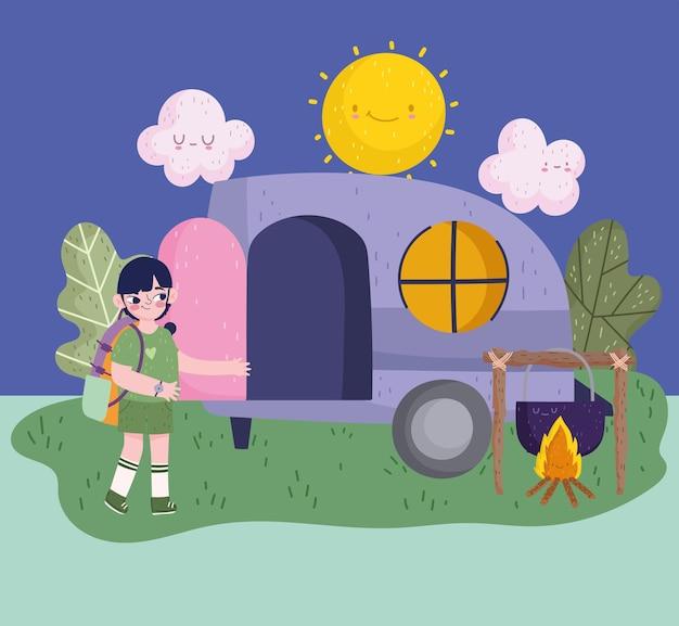 Campeggio, ragazzo con pentola falò camper zaino in stile cartone animato