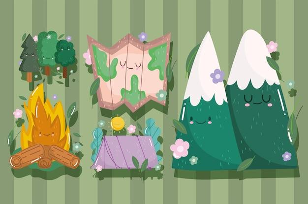 Campeggio in stile cartone animato falò montagne mappa e tenda