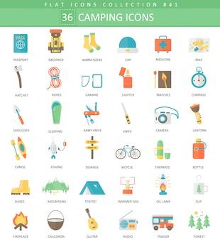Set di icone piatte di colore campeggio